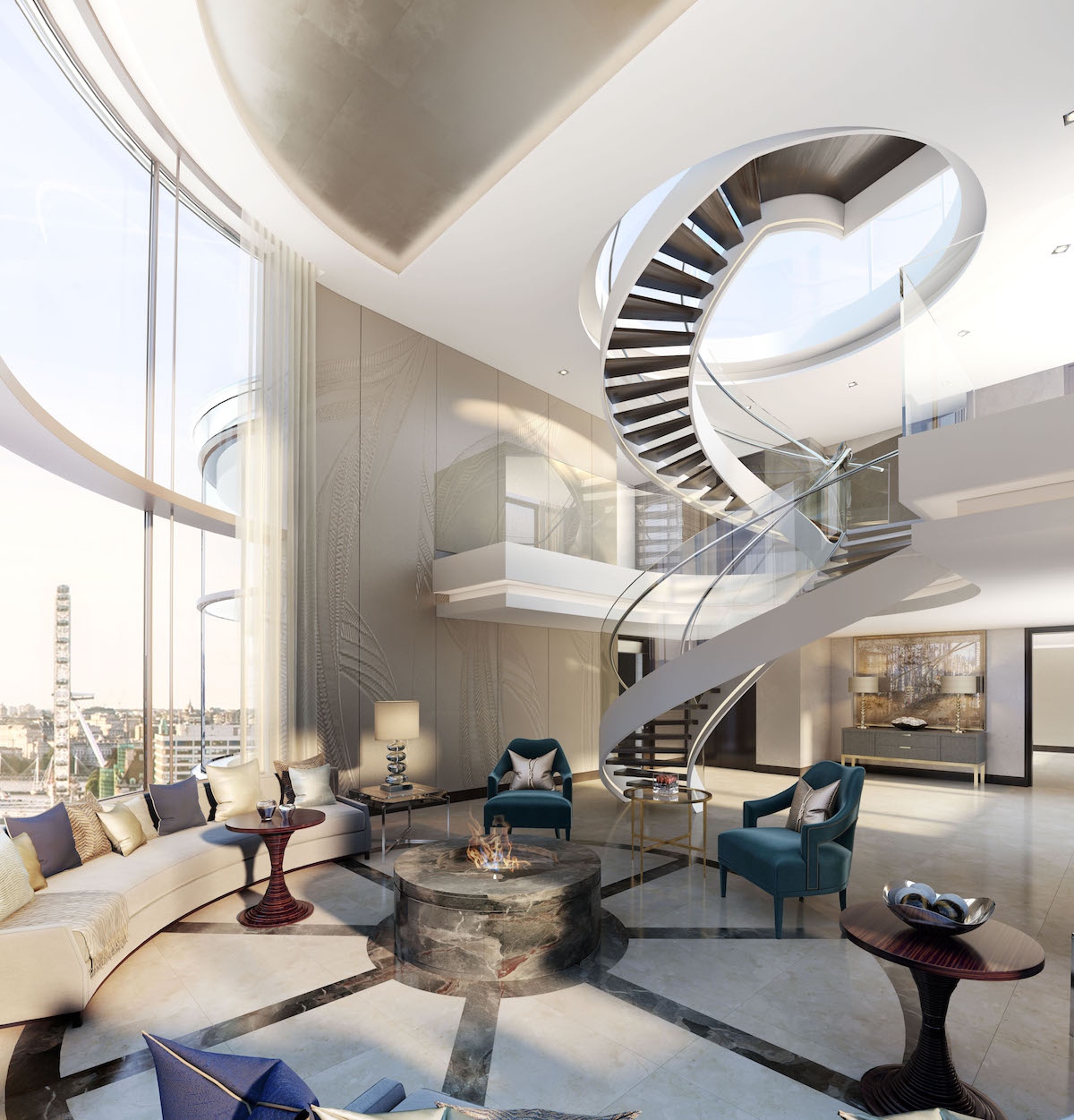 Double helical feature staircase for a Penthouse Apartment