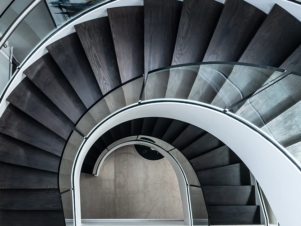 double helical feature staircase