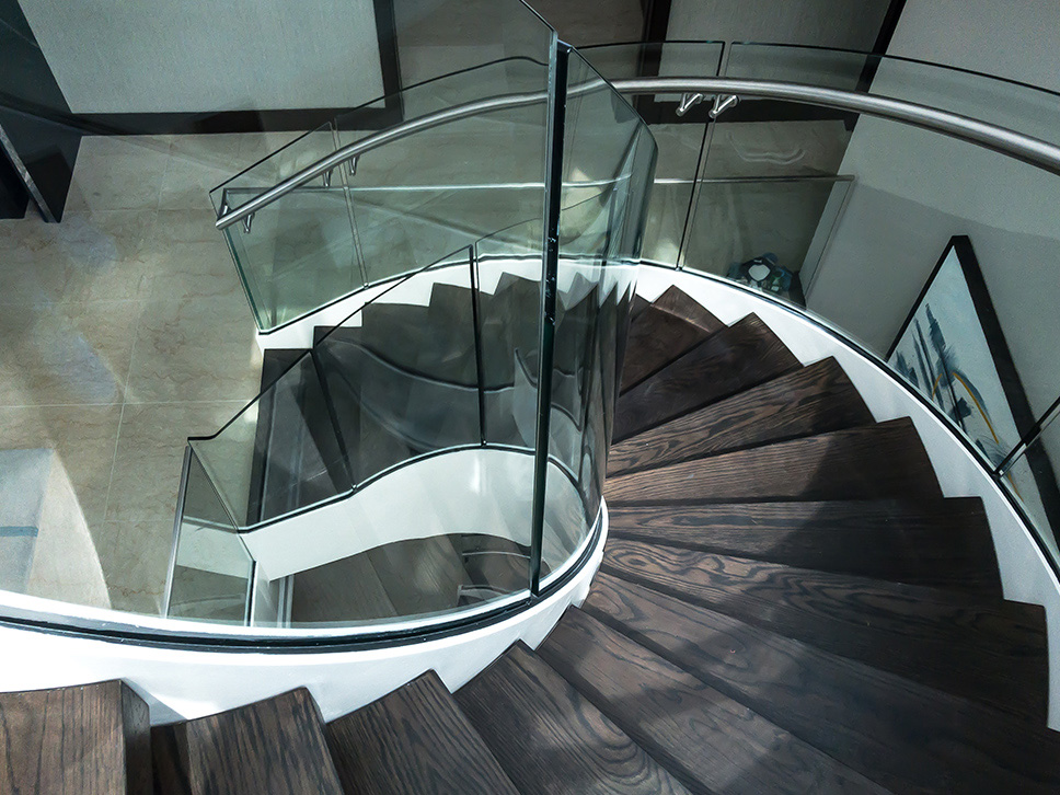 Spiral staircase timber finish